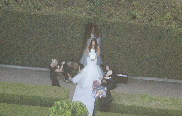 Kim Kardashian and Kris Humphries weddingpictured Kim wearing jeweled head