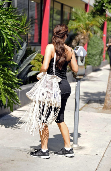 Kim Kardashian Kim Kardashian treats herself to a manicure and pedicure after a workout in Beverly HIlls.
