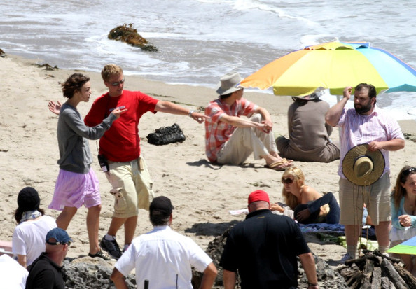 "Keira Knightley and Steve Carell film scenes for their new film, ""Seeking a Friend for the End of the World"", on the beach in Malibu. Her latest boyfriend James Righton of The Klaxons is seen with her on set."