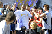 """NBA Lakers champs, Kobe Bryant and Pau Gasol, appear on the show """"Shot Faster"""" as coaches for the teams that have reached the end of the """"street league"""" tournament."""
