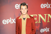 Jack Bannon is seen attending the premiere of Epix's 'Pennyworth' at Harmony Gold in Los Angeles, California.