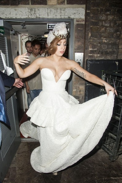 Lady Gaga A voluptuous Lady Gaga with a rash around her neck wearing a wedding dress and tiara left the Arts Club in Mayfair via the back door.The party was for Jay-Z and Chris Martin after the Paralympics Closing ceremony, Rihanna was also there. They all performed at the ceremony. Lady Gaga has just finished a weekend of gigs in Twickenham stadium.