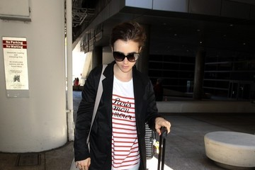 Lily Collins Kendall and Kris Jenner Visit LAX