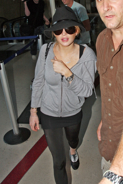 Lindsay Lohan arrives at Los Angeles International Airport (LAX).