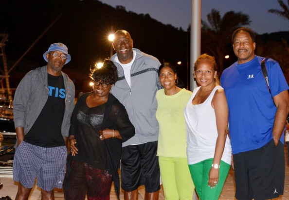 Magic Johnson Magic Johnson, Samuel L. Jackson and Dave Dave Winfield, along with their spouses, vacation together aboard Magic's yacht in the South of France.