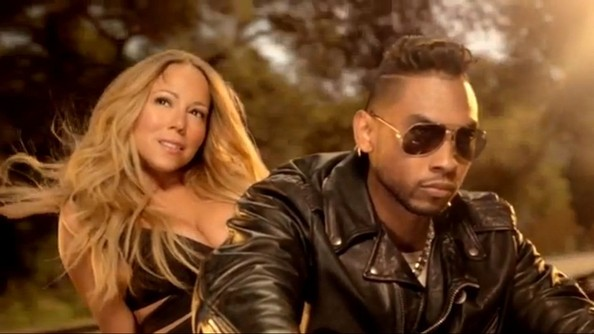 Scenes from Mariah Carey's music video for 'Beautiful', featuring Miguel.
