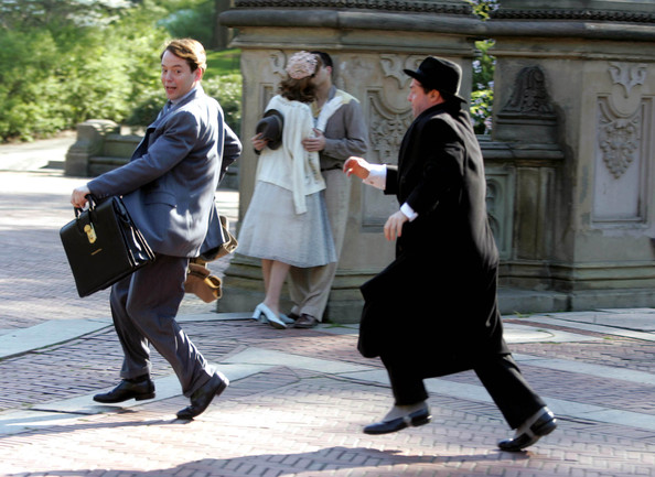 """Matthew Broderick & Nathan Lane Filming """"The Producers"""""""