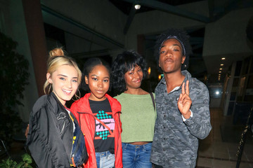 Meg Donnelly Jaheem Toombs and Brady Reiter Outside Ultrazone Laser Tag in Sherman Oaks