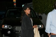 Michelle Rodriguez is seen leaving Giorgio Baldi restaurant.