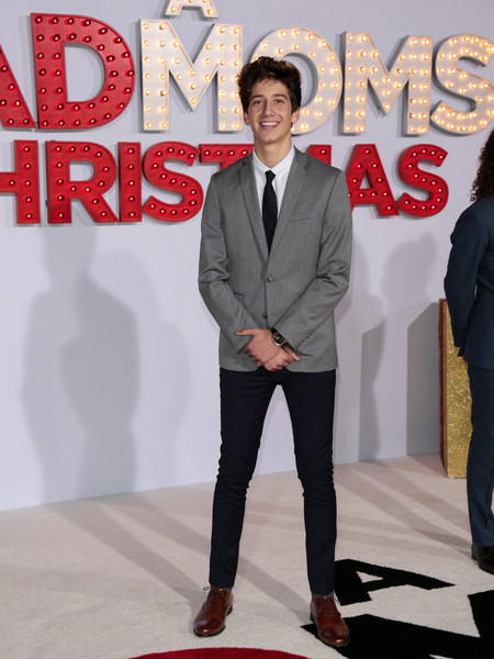 Milo Manheim is seen arriving at the Premiere Of STX Entertainment's 'A Bad Moms Christmas' at Regency Village Theatre in Los Angeles, California.