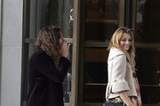 Mischa Barton and Cisco Adler leaving Tea & Sympathy in the west village.  Although not quite joining the ranks of other recent celebrity flashers, Mischa failed to notice that her zipper was undone.