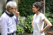 Woody Allen and Selena Gomez are seen at the movie set of the 'Untitled Woody Allen Project'.