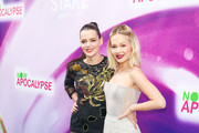 Roxane Mesquida and Kelli Berglund are seen attending Now Apocalypse Premiere at Hollywood Palladium in Los Angeles, California.
