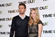 "Justin Timberlake and Amanda Seyfried attend a photo call for their new movie ""In Time"" at the Bristol Hotel."