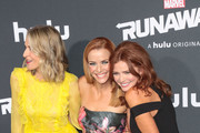 Annie Wersching, Ever Carradine and Brigid Brannagh are seen attending the premiere of Hulu's 'Marvel's Runaways' at The Regency Bruin Theatre in Los Angeles, California.