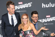 Kip Pardue, Annie Wersching and Kevin Weisman are seen attending the premiere of Hulu's 'Marvel's Runaways' at The Regency Bruin Theatre in Los Angeles, California.