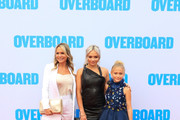 Barbara Alyn Woods, Natalie Alyn Lind, Alyvia Alyn Lind are seen arriving at the Premiere of Lionsgate and Pantelion Film's 'Overboard' at Regency Village Theatre in Los Angeles, California.