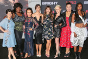 Rebekka Johnson, Kia Stevens, Brit Baron, Jackie Tohn, Kimmy Gatewood and Britney Young are seen arriving at the Premiere Of Netflix's 'Bright' at Regency Village Theatre in Los Angeles, California.