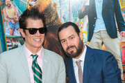 Johnny Knoxville and Chris Pontius are seen attending the premiere of Paramount Pictures' 'Action Point' at ArcLight Hollywood in Los Angeles, California.