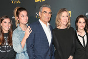 Sarah Levy, Annie Murphy, Eugene Levy, Catherine O'Hara and Emily Hampshire are seen attending the premiere of Pop TV's 'Schitt's Creek' season 4 at ArcLight Hollywood in Los Angeles, California.