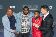 Actors Bokeem Woodbine, Wavyy Jonez, Marcc Rose and Josh Duhamel are seen attending the premiere of USA Network's 'Unsolved: The Murders of Tupac and The Notorious B.I.G. at Avalon in Los Angeles, California.
