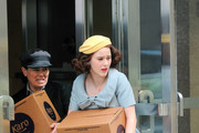 Rachel Brosnahan on set 'The Marvelous Mrs Maisel'