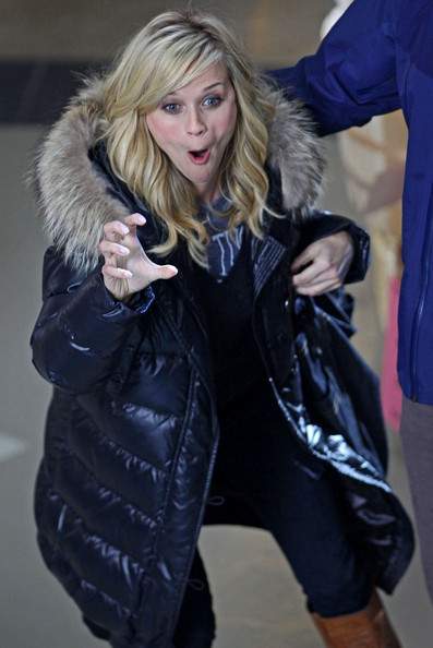 "***NO CANADA RIGHTS***.Reese Witherspoon gets in the Halloween spirit by making scary faces before filming scenes for ""This Means War""."