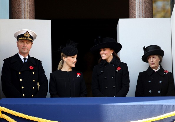 11th November, 2012:  The Remembrance service at The Cenotaph in London today. Among those attending, Tim Laurence, Sophie Countess of Wessex and Catherine, The Duchess of Cambridge.