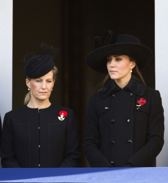 11th November 2012.  The Remembrance service at The Cenotaph in London today.Here, Kate, Duchess of Cambridge and Sophie, Countess of Wessex.