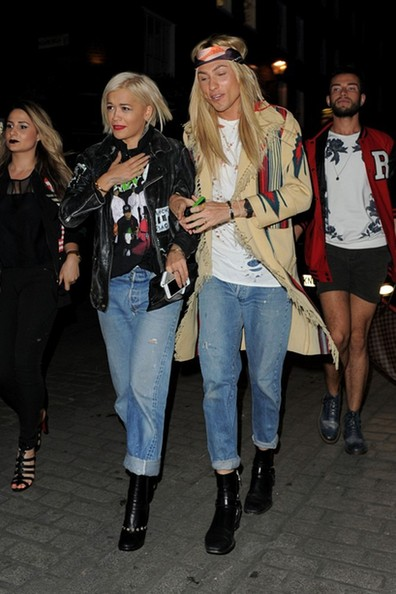 Rita Ora is seen on a night out with friends at Cirque le Soir nightclub in central London.