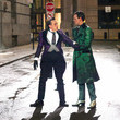 Robin Taylor Cory Smith And Robin Taylor On The Set Of 'Gotham'