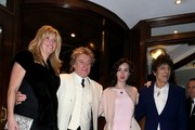 Sally Humphreys and husband Ronnie Wood leaving the Ritz hotel in London with Rod Stewart and Penny Lancaster.