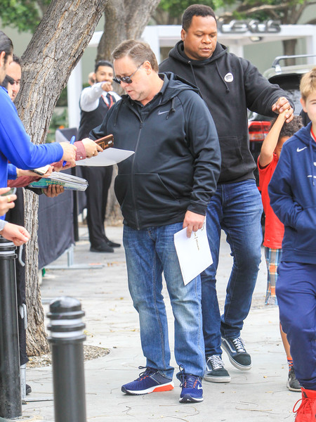 Russell Crowe Outside The Clippers Vs. Warriors Playoff Game At Staples Center