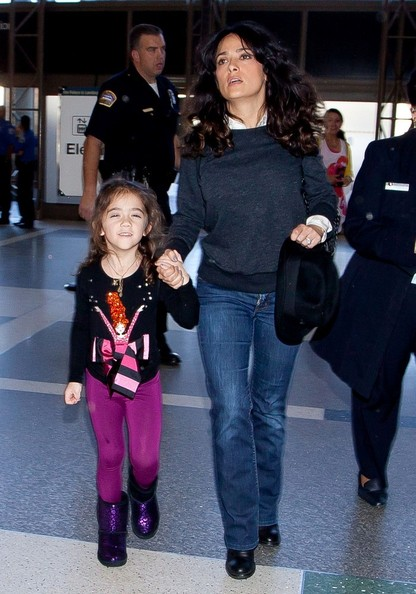 Salma Hayek - Salma Hayek and Valentina at the Airport