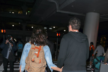 Sam Esmail Emmy Rossum and Sam Esmail at LAX