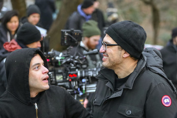 Sam Esmail Rami Malek Performs On The Set Of 'Mr. Robot'