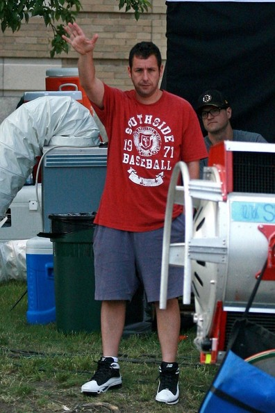 Adam Sandler hangs out on the set of 'I Hate You, Dad'.