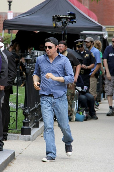 Mark Wahlberg On Set in adidas Superstar