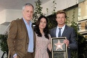 Simon Baker honored with star on the Hollywood Walk of Fame. .Hollywood, CA..February 14, 2013..Job: 130214A1..(Photo by Axelle Woussen)..Pictured: Bruno Heller, Simon Baker and Robin Tunney..