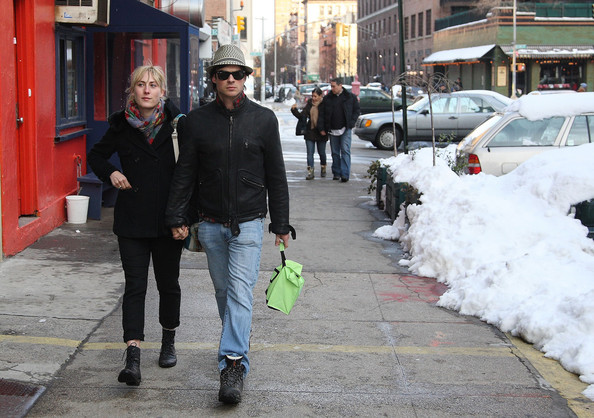 Actor Ian Somerhalder walks around in the snow with his girlfriend, ...