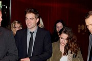 Kristen Stewart changes out of her revealing jumpsuit as she and Robert Pattinson depart after the UK premiere of 'The Twilight Saga: Breaking Dawn - Part 2' held at the Odeon Leicester Square.