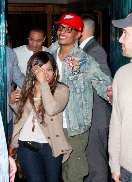 """T.I. Rapper T.I. and his wife Tameka """"Tiny"""" Cottle are all smiles as they leave Madeo Restaurant in Beverly Hills."""