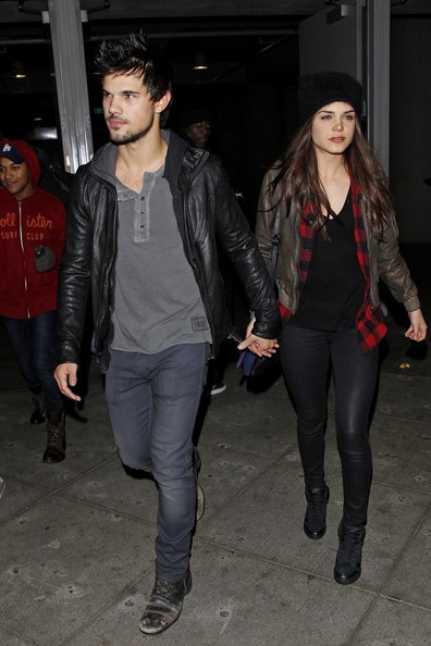 Taylor Lautner And Marie Avgeropoulos Seen At Staples