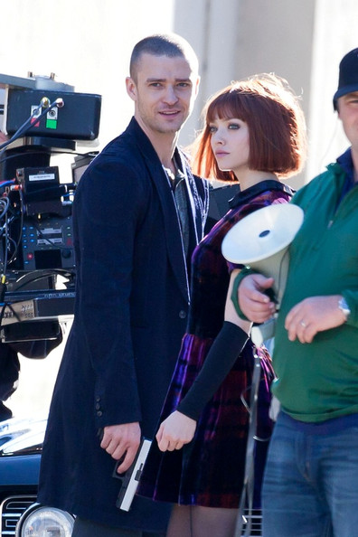 "Justin Timberlake and Amanda Seyfried shoot scenes for their upcoming film, ""NOW""."
