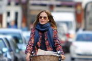 Trinny Woodall seen out and about on her bike in West London.