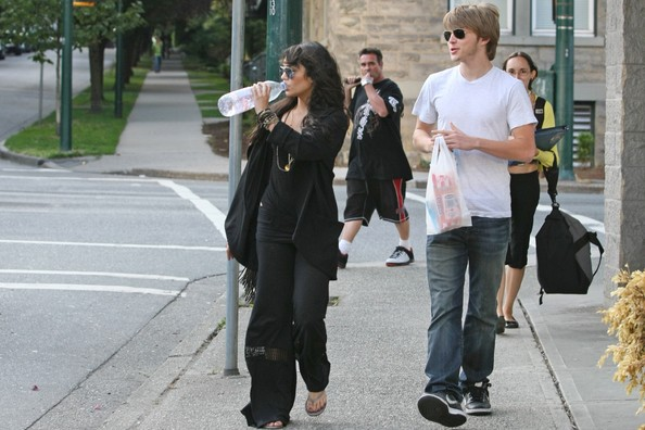 Vanessa Hudgens clutching her Evian water and Sterling Knight walk the streets and shop for some munchies in downtown Vancouver.