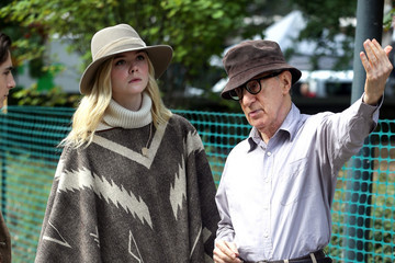 Woody Allen Elle Fanning and Woody Allen on Set in New York City