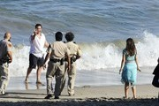Zooey Deschanel and Jake Johnson film scenes for 'New Girl' in Malibu on August 7, 2013.