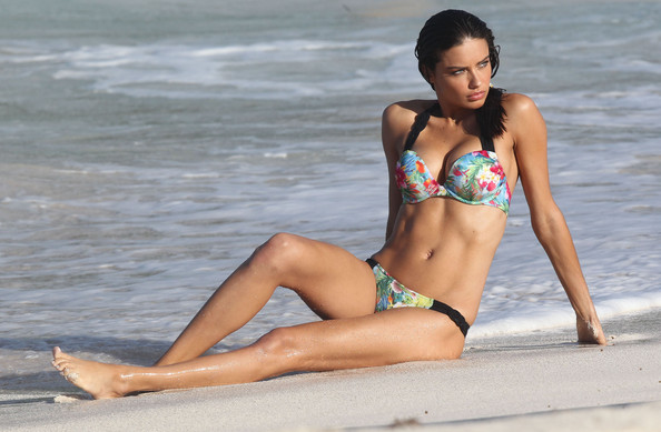 Adriana Lima Model Adriana Lima hits the beach and shows off her sexy body for a Victoria's Secret bikini photo shoot on January 26, 2012 in St Barts, Caribbean
