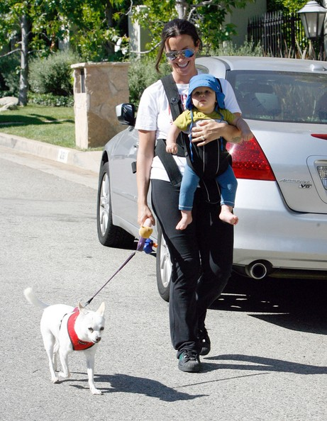 Singer Alanis Morissette and her son Ever Treadway out walking their dog in Los Angeles, CA.